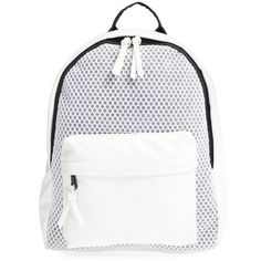 Women's Poverty Flats By Rian 'sport' Faux Leather & Mesh Backpack ($88) ❤ liked on Polyvore featuring bags, backpacks, white, faux leather rucksack, sport backpack, mesh sports bag, mesh bag and sport bag