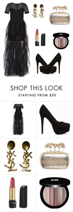 """Untitled #482"" by mariafilomena471 ❤ liked on Polyvore featuring BCBGMAXAZRIA, Nly Shoes, Yves Saint Laurent, Alexander McQueen, Lancôme and Edward Bess"