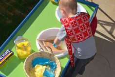 Train table turned Montessori Practical Life washing table! From the How We Montessori blog.