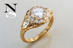 This is a custom bridal, engagement or planetary ring for Venus set with fair-trade diamonds by Nala Saraswati.  #customjewelry