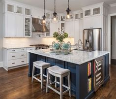 White and Navy Kitchen More