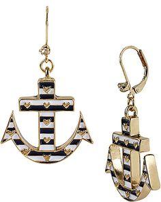 STRIPE ANCHOR DROP EARRING NAVY accessories jewelry earrings fashion $45 Betsy Johnson earrings