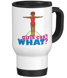Be in style when you're on the go with our stainless steel travel/commuter mug. This spill-proof commuter mug has a removable plastic top and looks good adorned with your favorite picture or text. Use the ColorizeME Tool to create a personalized gift she'll truly love! http://www.girlscantwhat.com/personalized-gifts/girl-diver/  #girlscantwhat #girlpower #GirlDiver