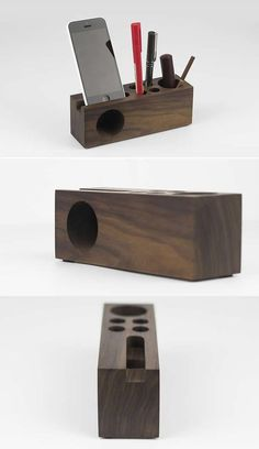 Wooden Speaker Sound Amplifier iPhone SmartPhone Stand Dock With Pen Holder
