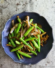 Stir Fried Green Beans with Ginger and Onions, so easy! On SimplyRecipes.com #healthy #vegan #vegetarian