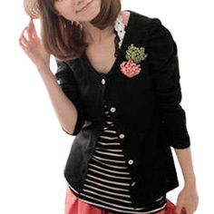 Allegra K Allegra K Lady Button Front Open Shirt w Two Flower Brooch Black XS Allegra K. $10.62