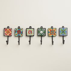 Delicately hand painted in a variation of vibrant floral designs, our set of six Painted Square Tile Hooks coordinate to create a colorful, eclectic look. Tile Art, Mosaic Art, Azulejos Diy, Tile Crafts, Spanish Tile, Blue Pottery, Ceramic Knobs, Tile Design, Bohemian Decor