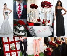 Red, Black and White Wedding Theme: this would be my wedding colors , our Anniversary is coming up next year. We didn't have a real wedding, but a girl can dream lol Cute Wedding Ideas, Wedding Themes, Wedding Colors, Wedding Events, Wedding Inspiration, Weddings, Event Themes, Wedding Designs, Wedding Dresses
