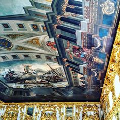 #Lookup Ceilings that have inspired me in my 2015 travel. An amazing ceiling painting, At the Catherine Palace. Pushkin, Russia.