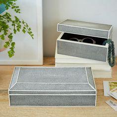 Faux Shagreen Box - Charcoal | west elm