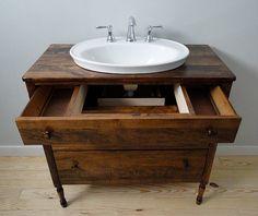 Vermont Vanities custom builds solid wood bathroom vanities and converts timeless antiques into bathroom vanities. Dresser Vanity Bathroom, Vessel Sink Bathroom, Vanity Sink, Bathroom Furniture, Bathroom Interior, Bathroom Vanities, Sinks, Upstairs Bathrooms, Downstairs Bathroom