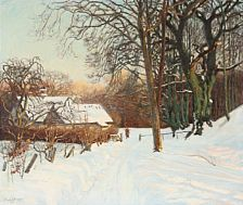 Viggo Langer: Winter landscape with a woman carriyng fire wood. Signed and dated Viggo langer 1912. Oil on canvas. 76 x 90 cm.