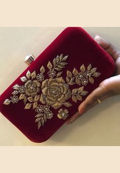 Contact:- for order Zardosi Embroidery, Hand Embroidery Dress, Bead Embroidery Patterns, Embroidery Suits Design, Embroidery Fashion, Hand Embroidery Designs, Beaded Embroidery, Bridal Clutch, Wedding Clutch