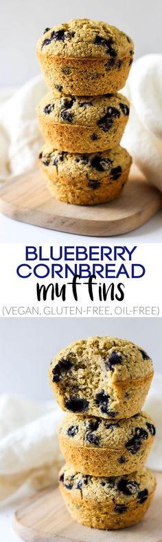 Fluffy and sweet, these Blueberry Cornbread Muffins make a healthy breakfast or light side dish! They're vegan, gluten-free, oil-free, and totally tasty.
