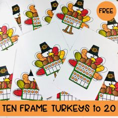 Ten Frame Turkeys to 20 by Traci Bender - The Bender Bunch   TpT Thanksgiving Math, November Month, Learn To Count, Ten Frames, Turkey, Future, Learning, Fun, Holidays