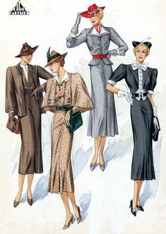 30s Fashion Quartet – Blank Card | Green Tiger Press Vintage Greeting Cards, Art Prints, and Wooden Signs