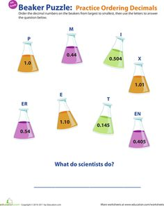 Fourth Grade Decimals Worksheets: Ordering Decimals Practice