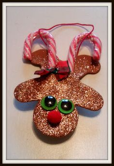 Double Treble Craft Adventures: Candy Cane Reindeer Ornament {Craft} - it's an upside down gingerbread man