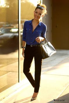 Women's office clothes blue Boise with black skinnies and heels