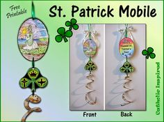 March is known for its winds! So for Saint Patrick's feast day (March make a fun project that can spin in the cool Spring winds. This St. Patrick Mobile is double sided so it can spin around. Ccd Activities, St Patrick Day Activities, Catholic Crafts, Catholic Kids, St Patrick's Day Crafts, Crafts For Kids, Vbs Crafts, Classroom Crafts, Classroom Fun