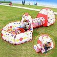 Amazon.com : FocuSun Pop up Kids Play Tent with Tunnel and Ball Pit Indoor and Outdoor Easy Folding Cute Polka Dot 3 in 1 Play House Children's Playground with Zippered Storage Bag : Baby