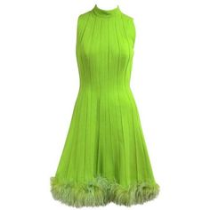 Preowned 1960s Green Knit Ostrich Feather Dress (1 080 AUD) ❤ liked on Polyvore featuring dresses, green, ostrich feather dress, holiday cocktail dresses, knit dress, evening dresses and holiday dresses