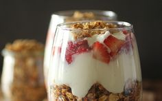 These make ahead strawberry parfaits are simple to make, and can be made ahead of time so your breakfast (or snack) is ready to go when you are! They are perfectly balanced with the right amount of healthy carbs, fat, and protein, and are made with a few basic ingredients! You can even make them your own using different berries, or nuts! Enjoy!