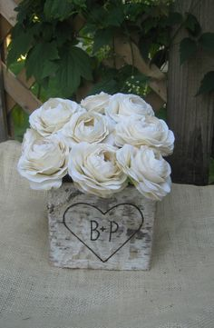Large Personalized Natural Birch Bark Square Vase