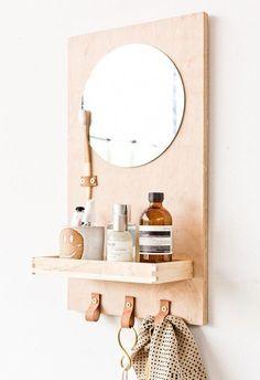 A Modern DIY Bathroom Organizer (with Mirror) - Paper and Stitch Modern Diy Bathrooms, Nautical Bathrooms, Small Bathroom, Bathroom Ideas, Big Bathrooms, Mirror Bathroom, Bathroom Green, Bathroom Showers, Bathroom Makeovers