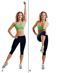 Knee cross crunch  A.Stand with your shoulders in line with your hips and extend your left arm up and your right leg to the side, toes pointed.    B Next, lower your left elbow and raise your right knee, crunching them together on a diagonal line. Return to the starting position.REPS: Do 12 - 15    Photo by Rodale Oct 18, 2012