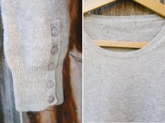 ~Vintage Cashmere/Mohair Gray Sweater~  Oh, me, oh, my...this is one soft, cozy gray sweater ready to take on the cold! Adorable button sleeve accents make this simple piece a little more funky while the flexible waistline gives this piece versatility to wear long or high-waisted.