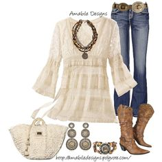 Spring Country Girl by amabiledesigns on Polyvore featuring BKE, Suzanna Dai, French Kande, Denim & Supply by Ralph Lauren, Dolce&Gabbana, country and amabile