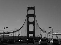 Travelling along the road over the Golden Gate bridge towards San Francisco, California. San Francisco City, White Art, Taking Pictures, Golden Gate Bridge, Black And White Photography, Fine Art Photography, Fine Art America, Travelling, Scale