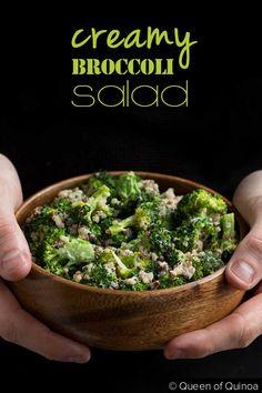 Creamy Broccoli-Quinoa Salad  {By Queen of Quinoa for Beard and Bonnet} #glutenfree #vegan