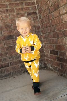 Mustard Deer print pants! Love seeing more baby boy clothes!