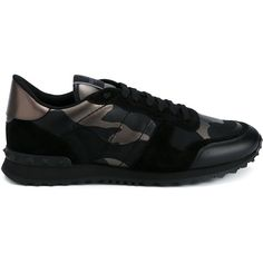 Valentino 'Rockrunner' sneakers (€840) ❤ liked on Polyvore featuring men's fashion, men's shoes, men's sneakers, black, shoes, mens black leather sneakers, mens camo shoes, mens black shoes, mens leather sneakers and mens black sneakers