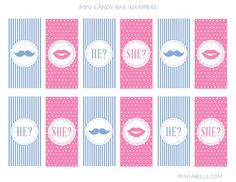 Free gender reveal printable mini candy bar wrappers! #genderreveal #babyshower