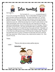 Reading Strategy Monthly Letters BUNDLE....  TheseReading Strategy Homework Letters are monthly letters you can send home that SPOTLIGHT a new strategy each month.  7  Monthly Reading Strategy Homework Letters    Monthly Strategies Include:  Read It Like A Character  Poetry Club Reading  Echo Reading  Listening To the Reader    $6.99