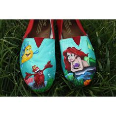 Disney Little Mermaid Original Custom Acrylic Painting for Toms Shoes