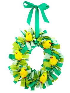 DIY Easter decorations: Try this ribbon wreath with fluffy chenille chicks #hgtvmagazine http://www.hgtv.com/holidays-and-entertaining/a-dozen-fun-easter-ideas/pictures/index.html?soc=pinterest#