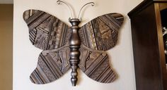 Wood Butterfly Recycled Art Sculpture Huge by LucyDesignsonline