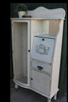 Reproduction secretary gets a make-over. Painted a creamy white, distressed and waxed. White Washed Furniture, Distressed Furniture, Farmhouse Furniture, Repurposed Furniture, Furniture Makeover, Antique Furniture, Painted Furniture, Furniture Ideas, Secratary Desk