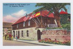 Oldest House in Oldest City St Augustine Florida, Vintage Linen postcard
