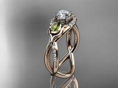 14kt  rose gold diamond tulip flower wedding ring,engagement ring ADLR226