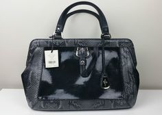 NWT $398 COLE HAAN Gracie Satchel Black Snake-Embossed Leather