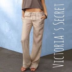 """NWOT VS The Beach Linen Pants - Sz XS_Long - R$45 NWOT Victoria's Secret The Beach Pant in Quicksand. Easy fit. Low rise. Wide leg drawstring with faux fly. SOLD OUT in this color & size. Material: 100% linen. Measurements: 15"""" across waist, 8"""" rise, 34"""" inseam. Size XS. Retail $44.50.  ✅Always Authentic✅ ⬇️Bundle & Save 10% & Save on Shipping⬇️ ❌Trades❌PayPal❌ Victoria's Secret Pants"""