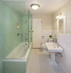 Baroque tub enclosures in Bathroom Traditional with Vintage 1940's next to Tub Shower Door alongside Tiles Around Tub and Bathroom Tile Colors
