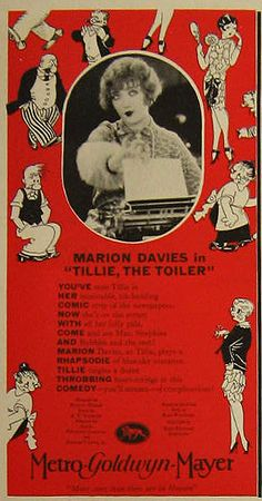 Tillie the Toiler ~ Marion Davies 1927 Vintage Movie Ad