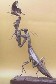 Bronze Outsize, Very Big, Extra Large & Massive Sculptures #sculpture by #sculptor Anne Shingleton titled: 'Praying Mantis 12 (Massive Bronze Insect statues)' £7352 #art