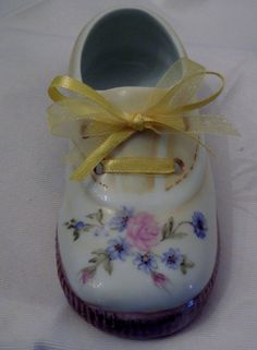 Baby Shoe-Hand painted  porcelain 5 inch Yellow by TeaatTiffanies